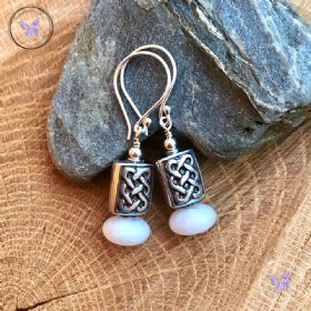 Silver Celtic White Agate Earrings